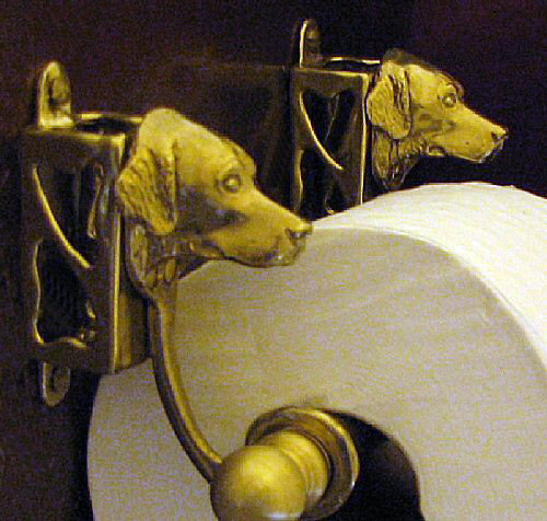 bronze dog breed toilet paper holder or paper towel holder