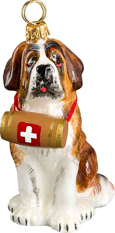 Saint Bernard W Barrel Dog Ornament