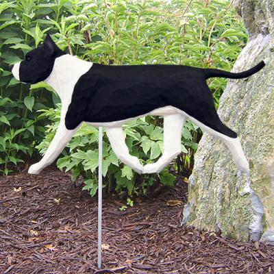 AmStaff Terrier Dog Garden Stake - Black/White