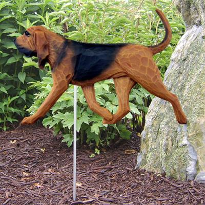 Bloodhound Dog Garden Stake - Red w/Black Saddle