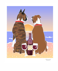 Boxer Sunset Dogs