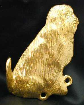 Bearded Collie Bronze Dog Hook
