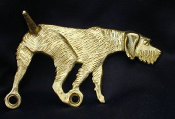 German Wirehaired Pointer Bronze Dog Hook