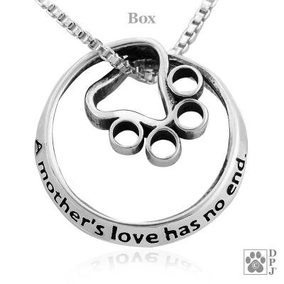 A Mother's Love Has No End Pendant on Box Chain by Dazzling Paws