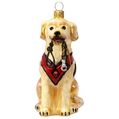 Labrador Retriever with Vest and Leash Ornament - Yellow
