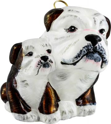 Bulldog Mom with Puppy Dog Ornament (Brown and White)