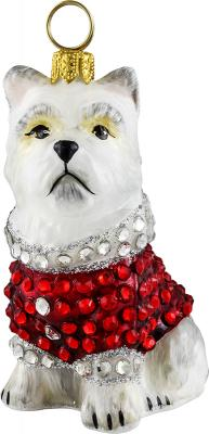 Westie in Crystal Encrusted Coat