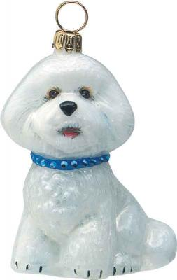 Bichon Frise<br /> w/Blue Jeweled Collar Dog Ornament