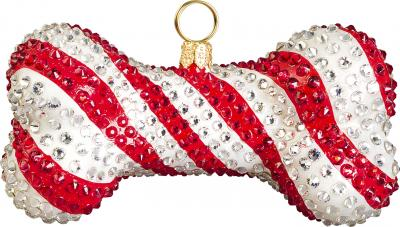 Candy Cane Dog Bone Ornament <br /> (encrusted with crystals)