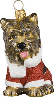 Yorkie in Santa Suit Dog Ornament