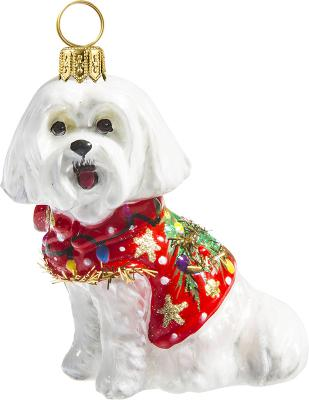 Maltese in Ugly Christmas Sweater