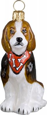 Beagle with Bandana Glass Dog Ornament