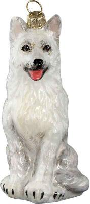 German Shepherd (White) Glass Dog Christmas Ornament