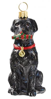 Black Lab with Slipper Glass Dog Ornament