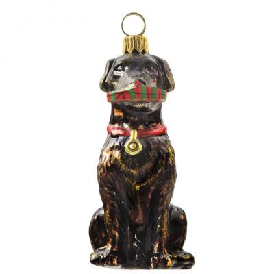 Chocolate Lab with Slipper Glass Dog Ornament