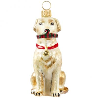 Yellow Lab with Slipper Glass Dog Ornament