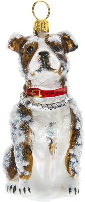 AmStaff Terrier Snowy Version Ornament