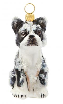 Boston Terrier (Snowy) Dog Ornament