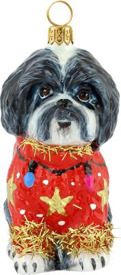 Shih Tzu in Ugly Christmas Sweater - Black/White
