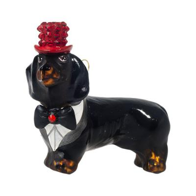 Dachshund (Black) in Crystal Top Hat %amp; Tails