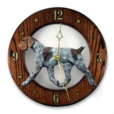 German Wirehaired Pointer Dog Wall Clock - Dark Oak Finish
