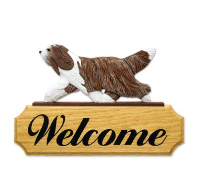 Bearded Collie Dog Welcome Sign - Brown/White