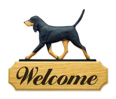 Black & Tan Coonhound Dog Welcome Sign