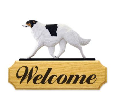 Borzoi Dog Welcome Sign - Tri