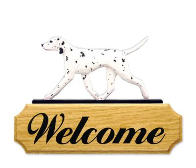 Dalmatian Dog in Gait Welcome Sign - Black/White