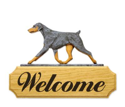 Doberman Pinscher (Natural) Welcome Sign - Blue/Tan