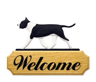 American Staffordshire Terrier Dog Welcome Sign - Black & White