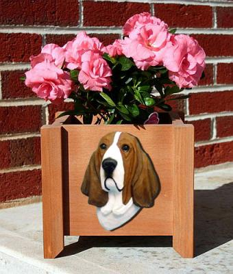 Basset Hound Dog Garden Planter - Red & White