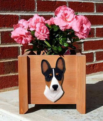 Basenji Dog Breed Garden Planter - Tri