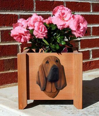 Bloodhound Dog Garden Planter - Red