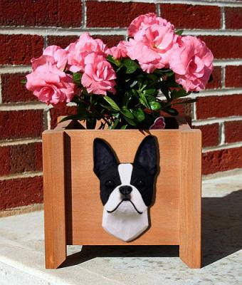 Boston Terrier Dog Garden Planter - Black & White