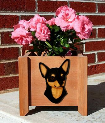 Chihuahua Dog Garden Planter - Black & Tan