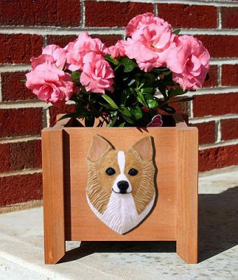 Chihuahua (Long Hair) Garden Planter - Fawn & White