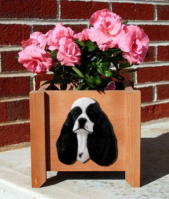 Cocker Spaniel Garden Planter - Black Parti