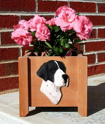 English Pointer Dog Garden Planter - Black & White