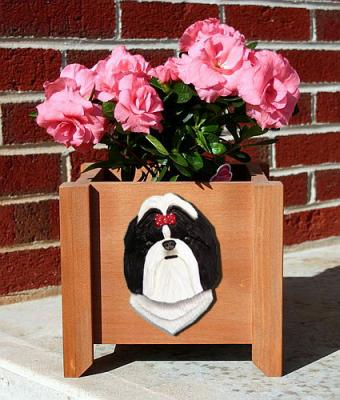 Shih Tzu Garden Planter - Black & White
