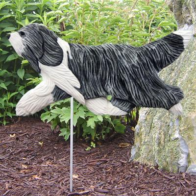 Bearded Collie Dog Garden Stake - Blue/White