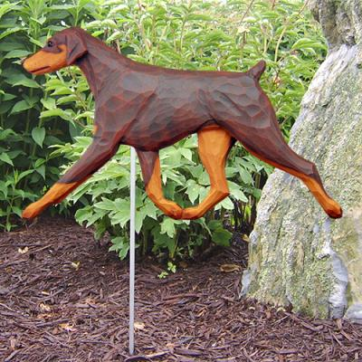 Doberman Pinscher (Natural)  Dog Garden Stake - Red/Tan