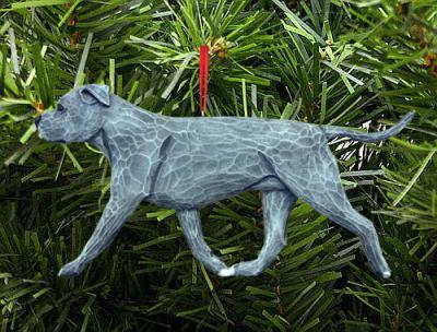 AmStaff (Natural) Dog in Gait Ornament - Blue