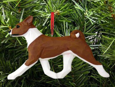 Basenji Dog in Gait Ornament - Red/White