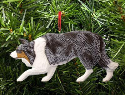 Border Collie Dog in Gait Ornament - Blue Merle