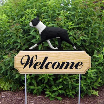 Boston Terrier Welcome Stake - Black White
