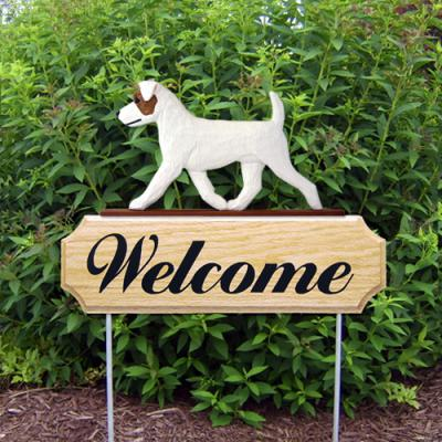 Rough Jack Russell Terrier Welcome Stake - Brown/White