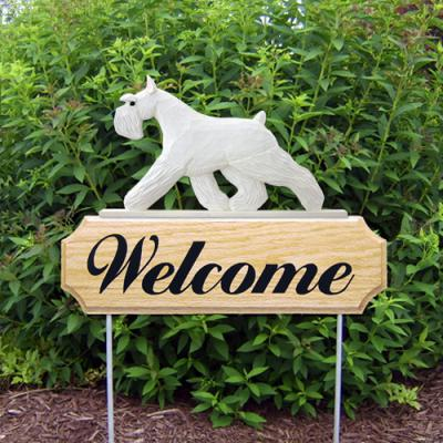 Schnauzer Welcome Stake - White