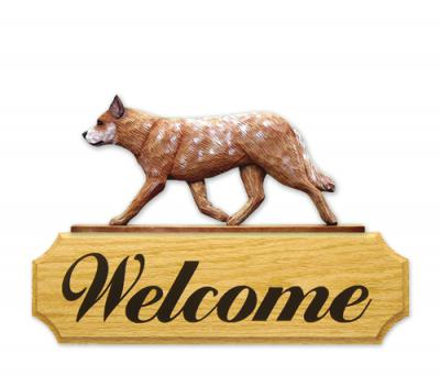 Australian Cattle Dog Welcome Sign - Red Merle