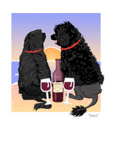 Portugese Water Dogs Sunset Dogs